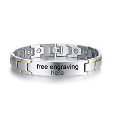 Custom Men Health Magnet Therapy Bracelet Healing Chain Wristband Free Engraving