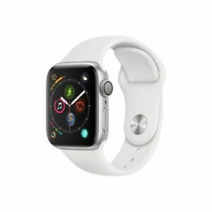 New Apple Watch Series 4 44mm Silver Aluminum Case White Sport Band GPS Open Box