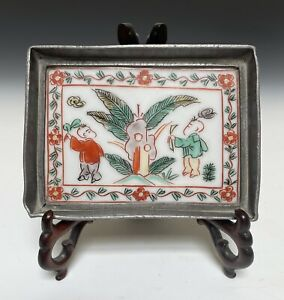 Antique Chinese 18th Early Qing Pewter Porcelain Tray Marked Verte Kangxi