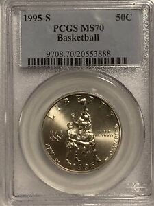 1995-S Olympic Basketball Half Dollar PCGS MS70