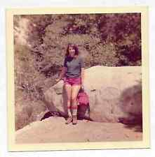 Square Vintage 70s PHOTO Young Woman Hiker in Nature