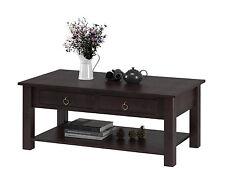 Wohnzimmertisch Couchtisch mit Schublade Tisch Kiefer massiv dunkel braun