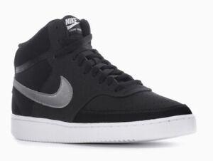 NEW Nike Men's Black & Metallic Dark Grey Court Vision Mid Sneakers~ Size 9.5