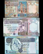 LIBYA SET 1/4 1/2 1 DINAR 2002 2004 UNC 3 PCS SET P 62 63 68