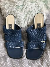 Vintage Bally Navy Mules Woven Size 3.5 Eu 36.5 Blue Hardly Worn Peep Toes