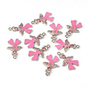 enamel Breast Cancer Awareness Ribbon charms  Angel Wings Pearl Pink pack of 8