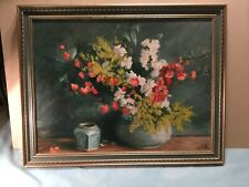 Illedgible Still Life Oil Painting Framed