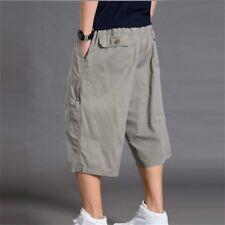 Men 3/4 Length Cargo Pants Shorts Loose Casual Cotton Trousers Plus Size Black