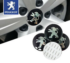 4 x Stickers 56mm Peugeot Black/Silver Wheel Centre Cap Sticker Self Adhesive