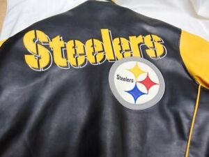 Vintage Pittsburgh Steelers G-III Embroidered Leather Coat 2XL XXL/EEX