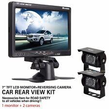 "2x Nachtsicht Rückfahrkamera Kamera +7"" Auto LKW Monitor Rückfahrsystem DC12-24V"