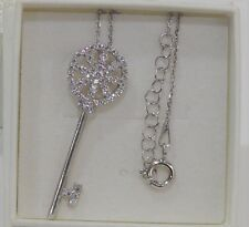 PRIYANKA 925 Silver Chain/White Topaz Key Pendant Jewellery Necklace AAMAYA-BNIB