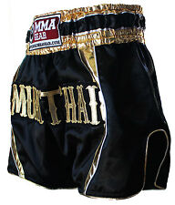 Premium Retro Black Muay Thai Shorts for men Honor By World Mma Gear Handmade