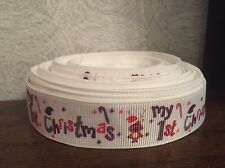 """1m 'My 1st Christmas' Pink Purple Baby First Grosgrain Ribbon, 7/8"""" 22mm"""