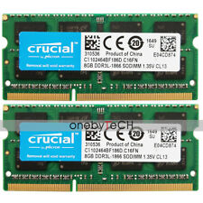 Crucial 16GB (2X8GB) PC3L-14900S DDR3-1866 204PIN SODIMM Laptop Memory 1.35V RAM