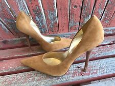 *CAmEL BrOwN* Suede NEW 9.5 LEATHER Point Toe Stiletto Heel PUMP CARRIE GuESS