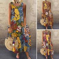 UK Women Summer Bohemia Sleeveless Floarl Printed Casual Loose Kaftan Maxi Dress