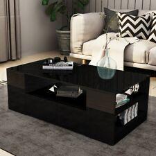 Modern Coffee Table Storage Drawer Shelf Cabinet High Gloss Wood Furniture Black
