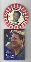 2000 CAMPAIGN 2  pin GORE 2 pinback DEMOCRATIC ALSO RAN Lost to George W. BUSH