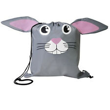 Bunny Rabbit - Childrens Animal Draw String Backpack Sport Pack Reusable Tote