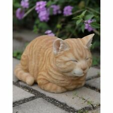 New Sleeping Orange Tabby Cat Figurine - Life Like Figurine Statue Home / Garden