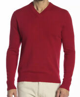 NWT Qi Cashmere Men's Long Sleeve Sweater Red Size Lrg