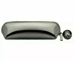MAC Cosmetics Silver Shiny Makeup Bag With Glowball Zipper Holiday Holographic