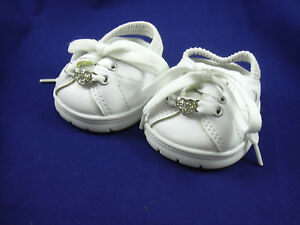 Build a Bear Workshop BAB Sparkly Heart White Skechers Slingback Shoes