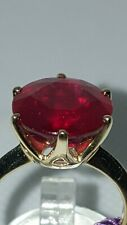❤JAYNES GEMS LARGE AAA 9.290CT RED RUBY.12MM SOLITAIRE 9K YELLOW GOLD RING UK R