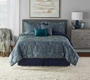 Mainstays Paisley Damask Teal 7-Piece Comforter Set, Full/Queen