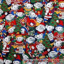 BonEful Fabric FQ Cotton Quilt VTG Red Green Xmas Tree Bear Music Carol Hat B&W