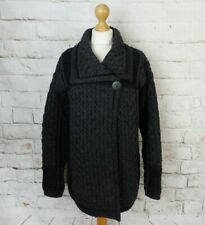 Vintage Inis Crafts Irish cable aran chunky knit grey black cardigan M 12 14