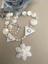 """19"""" Sterling Silver White Mother of Pearl Shell Flower Pendant Necklace REDUCED"""