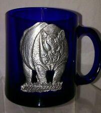 Libbey Cobalt Blue Coffee Mug Pewter Rhinoceros Keep Charging 12 oz