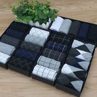 5 Pairs Men's Business Socks Designer Dress Socks Casual Striped Multi Color