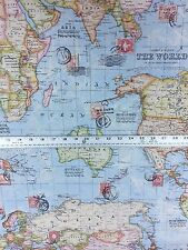 100% Cotton 'World Map' Craft/Upholstery/Curtain Fabric Material per Meter