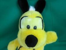 Funny Black Yellow Neon Bumblebee Puppy Dog Red Collar Plush Stuffed Animal Toy