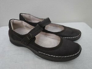 Women's JAMBU SLOANE 11 M Brown Leather Slip On Mary Janes Flats Loafers Shoes
