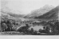 Switzerland SWISS ALPS Berne LAKE BRIENZ GOLDSWIL ~ Old 1865 Art Print Engraving