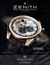 Publicité Advertising 108  2012   montre Zenith El Primero  chronomaster