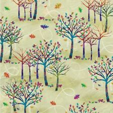 Autumn Hues cotton quilt fabric BTY Studio E Jewel tone Trees Leaves on Green