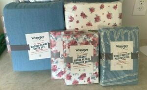 Pottery Barn Teen WRANGLER ombre floral QUEEN duvet shams washed denim sheet ++