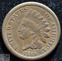 1860 Copper Nickel Indian Head Penny, Cent, Very Fine Condition, Free Ship C5140