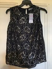 DOROTHY PERKINS, Gorgeous Ladies Black/Silver Shiny Top,size 10
