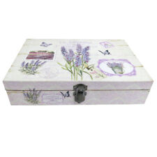 Wooden Keepsake Box with Lavender and Floral Design, Suitable for Jewellery