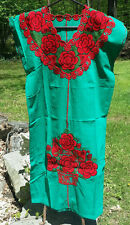 Maya Mexican Dress Embroidered Flowers Chiapas Puebla Teal Green Large #RI