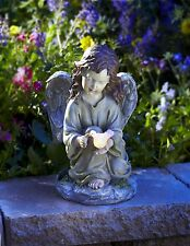 "Solar Powered Angel W/ Glowing Dove Statue Glow 9"" H Rechargeabl Battery Resin"