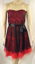 City Chic Red Strapless Lace Bradshaw Cocktail Dress Plus Size S 16 #p52