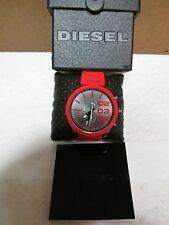 Diesel Double Down Chronograph Gunmetal Dial Red Silicone Mens Watch  New