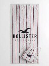 Hollister Beach Towel With Hollister Logo Packable Bag Soft cotton 34 X 63 NWT